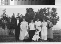 Phillips family members with others at old ranch headquarters.