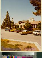 Chadwick School main entrance building and parking lot, Palos Verdes, California...