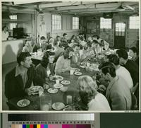 Dining room with students seated at dining tables