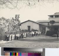 Malaga Cove Library entrance with young patrons, Palos Verdes Estates, California...