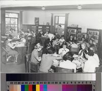 Malaga Cove Library interior with young patrons, Palos Verdes Estates, California...