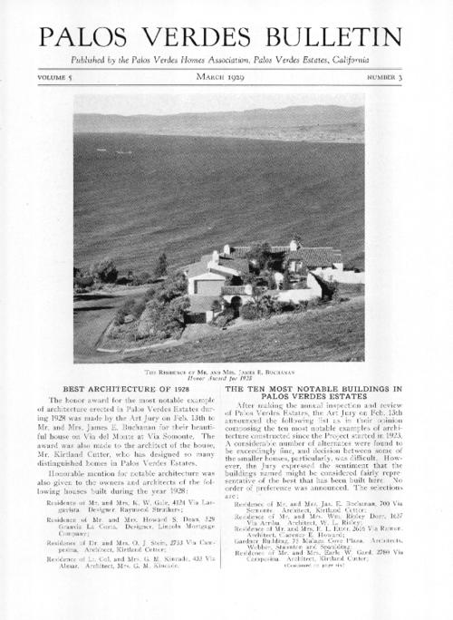 "This issue includes notes on the Art Jury's 1928 Best Architecture awards and the winners of the 10 most notable buildings contest; a detailed endorsement for the term ""Californian Architecture""; and the progress of the riding academy.  Also included is a photograph of Mr. and Mrs. Frank Vanderlip standing beside the duck pond on their Portuguese Bend property."
