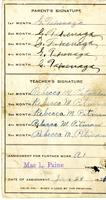 1921 report card for Tsutomu Takenaga