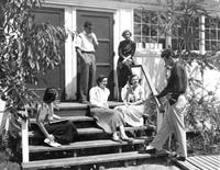 Group of students on wooden steps