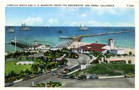 """CABRILLO BEACH AND U.S. WARSHIPS INSIDE THE BREAKWATER, SAN PEDRO, CALIFORNIA..."