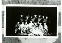 Boy Scout troop gathered around campfire [on Santa Catalina Island?] California...