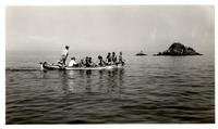Boy Scout troop on sailing vessel Cachalot during trip to Santa Catalina Island,...