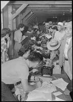 """""""Poston, Arizona. Evacuees of Japanese ancestry are being registered upon first..."""