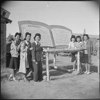 """Poston, Arizona. New Year's Fair. A group of pretty Nisei's [sic] pose beside..."
