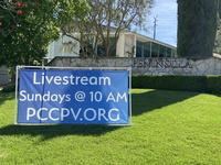 """Livestream Sundays"" sign"