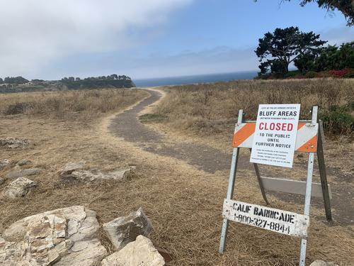 'The bluff tops areas had been open until the Fourth of July weekend.  The County's Covid-19 cases started to rise so the County closed beaches ahead of the Fourth of July weekend to try to control the cases.  Location:  Lunada Bay', Your Story is the Peninsula's Story (YSPS) Online submission, August 13, 2020.